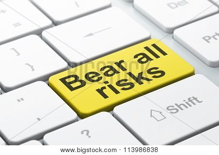 Insurance concept: Bear All Risks on computer keyboard background