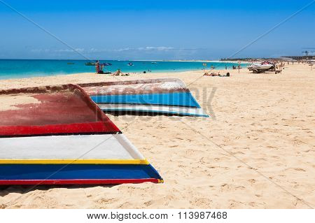 Fisher Boat In Santa Maria Beach In Sal Cape Verde - Cabo Verde