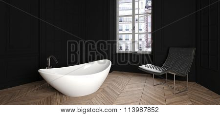 Panoramic of Modern Home Interior of Bathroom with Contemporary Bath Tub and Chair with Dark Walls, Wood Floors and City View. 3d Rendering.