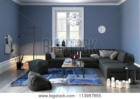 Interior of a modern lounge or living room in grey and blue decor with a comfortable couch and pouffe and single central window. 3d rendering.