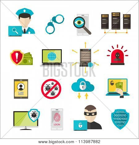 Internet safety icons. Virus attack vector icons. Internet data protection security. Technology cloud network icons. IT security concept icons infographic design elements. Cyber crimes attack icons
