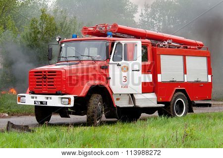 The red fire truck