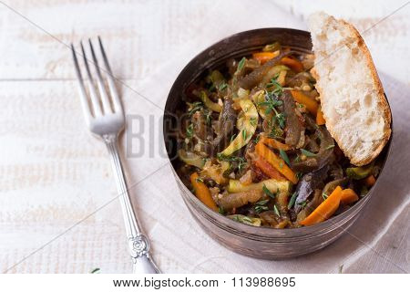 Vegetable Ragout Of Eggplant, Zucchini And Carrots