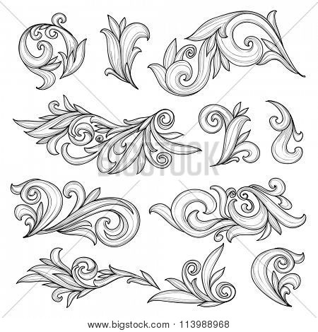 Abstract swirls page ornaments, calligraphic vintage design elements