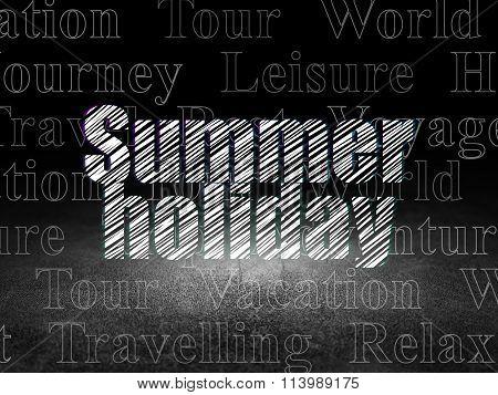 Travel concept: Summer Holiday in grunge dark room