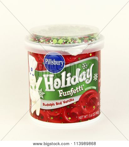 Can Of Pillsbury Holiday Funfetti Rudolph Red Vanilla