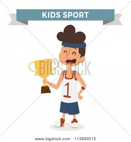 Cute cartoon vector profession basketball kid with award. Ssportsman funny cartoon boys kid. Profession sportsman basketball kids children vector. Profession kids