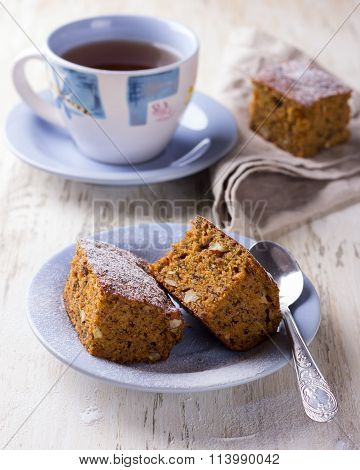Homemade Carrot And Banana Cake With Nuts And Spices