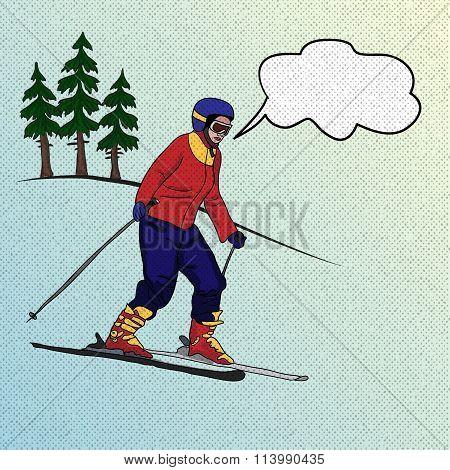 Girl Skier On Downhill