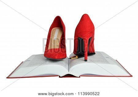 Pair Of Red Suede Stiletto Shoes, Book And Pen