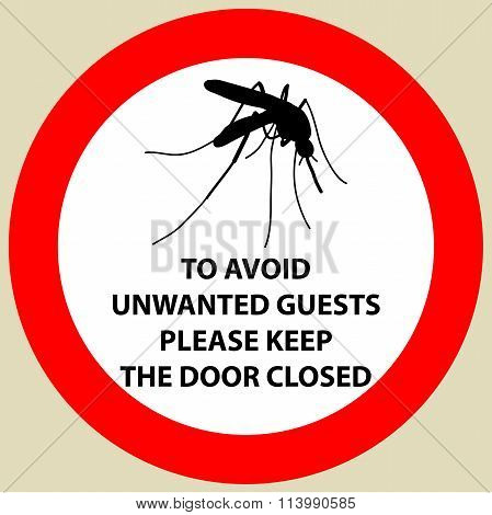 Sticker with Warning sign insect icon mosquito. Mosquito Silhouette  Vector