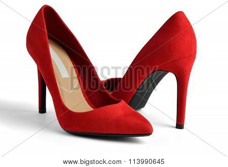 Red Suede High-heeled On White