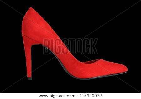 Red Suede High-heeled Shoe On Black