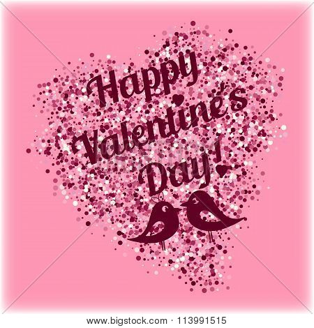 Shape Of Heart From Pink Scattering With Lovebirds And Lettering On Valentine's Day