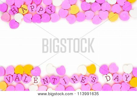 Happy Valentines Day candy hearts double border over white