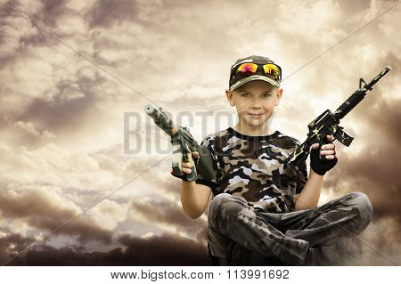 Child Boy Soldier, Toy Guns, Kid Camouflage Play Army