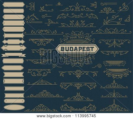 Kit of Vintage Elements for Invitations, Banners, Posters, Placards, Badges or Logotypes