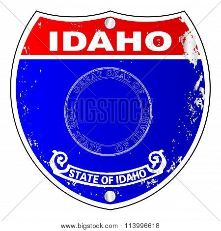 Idaho Flag Icons As A  Interstate Sign