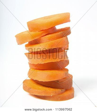 Carrot slices isolated