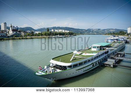 Barge on the blue Danube