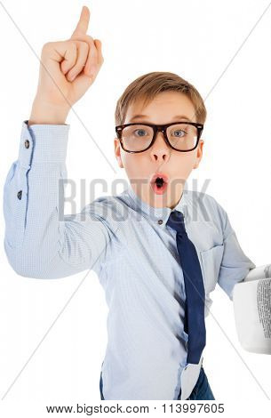 Boy Surprised With Book Isolated on White Background