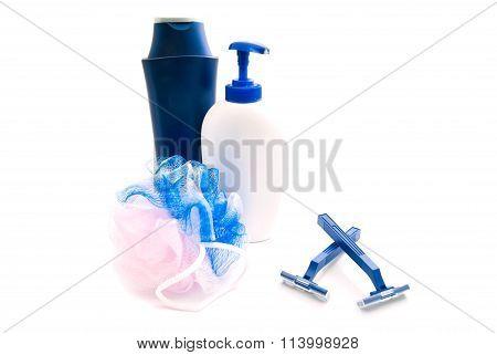 Shower Gel, Blue Razors And Wisp