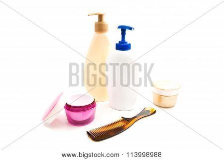 Shower Gel, Cream And Hairbrush
