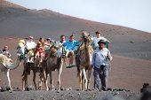stock photo of family vacations  - TIMANFAYA NATIONAL PARK LANZAROTE SPAIN  - JPG