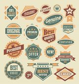 Retro labels and stickers collection poster