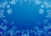 stock photo of weihnacht  - christmas frame background blue with many snowflakes - JPG