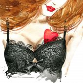 Valentine day heart and beautiful woman watercolor. poster