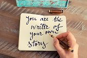 Постер, плакат: Motivational Concept With Handwritten Text You Are The Writer Of Your Own Story