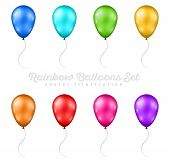 Set of Multicolored Balloons poster