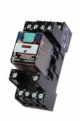 picture of contactor  - Electrical relay macro detail cut out over white - JPG