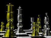 Polished metal chess pieces on chessboard poster