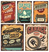 Vintage car service metal signs and posters vector. poster