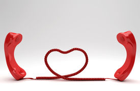 picture of long distance  - Long Distance Relationship concept with red phones - JPG