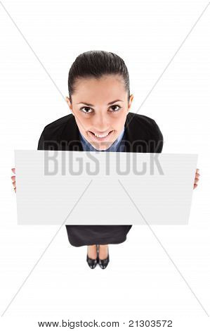Funny Businesswoman With Blank Banner