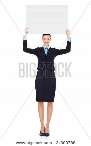 Businesswoman With  Blank Billboard Over Her Head