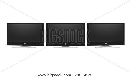 Computer monitors isolated on white background