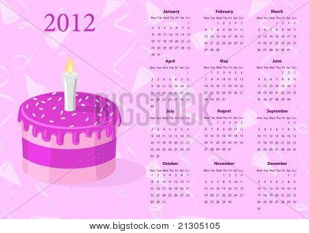 European Vector calendar 2012 with cake, starting from Mondays