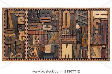 Vintage Letters, Numbers And Punctuation Signs