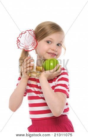 happy girl with apple and apple juice