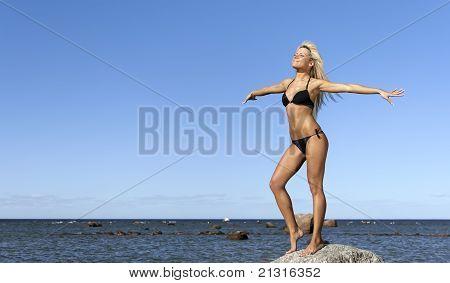 Girl In Bikini Posing On A Rock Near The Sea