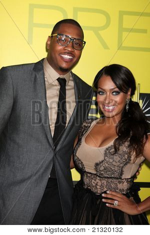 LOS ANGELES - JUN 25:  Carmelo Anthony, LaLa Vasquez arriving at the 5th Annual Pre-BET Dinner at Book Bindery on June 25, 2004 in Beverly Hills, CA