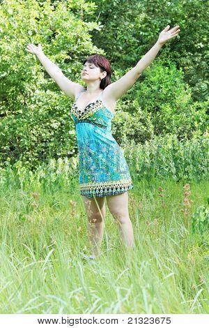 Woman Raised Hands Upward