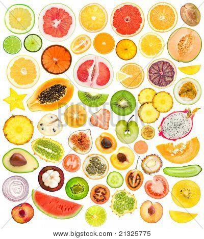 mega set of 56 different fruits and vegetables slices