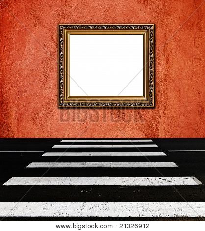 Old  Elegant Golden Frame On Peach Plaster Rough Background Pedestrian Crossing Foreground