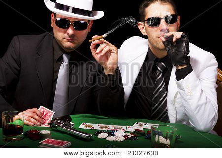 Two Gangsters Playing Some Cards