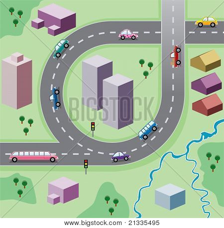 Vector Illustration With Houses, And Cars On The Road